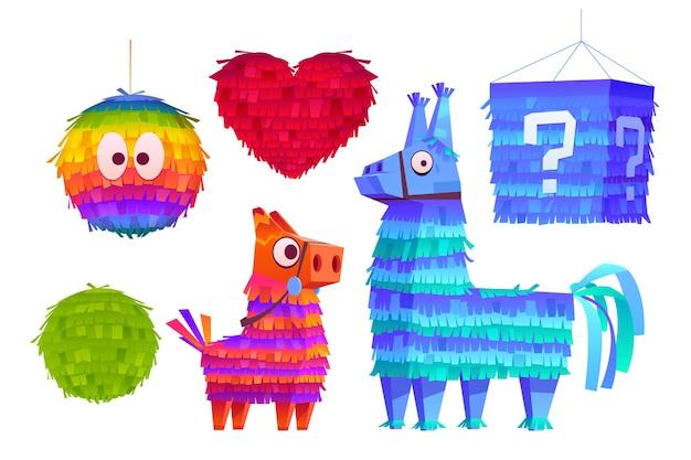 Pinata voor verjaardagsfeestje mexicaanse vakantie en carnaval grappig speelgoed van crêpepapier met snoepjes of verrassing binnen cartoon iconen van grappige pinata in de vorm van ezel paard hart en bal
