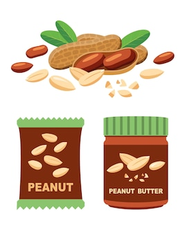 Pinda's en producten, pasta en noten in verpakkingen.