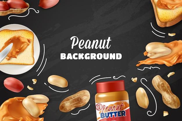 Pindanachtergrond met realistische noten en kruik met pindakaas op bord