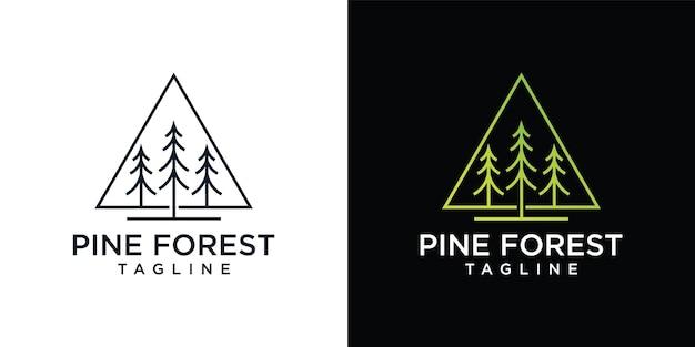 Pine groenblijvende of conifer ceder naald cipres lariks, logo ontwerpsjabloon