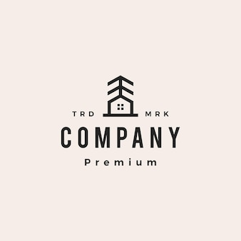 Pine huis boom hipster vintage logo vector pictogram illustratie