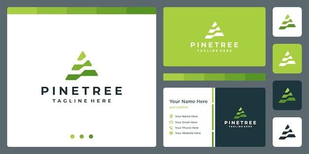 Pine tree abstract logo met full colour en visitekaartje ontwerpsjabloon