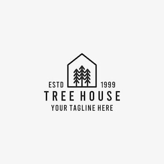 Pine tree huis overzicht pictogram. lineair stijlteken voor mobiel concept en webdesign. pine boomhut eenvoudige lijn vector pictogram. pine tree house symbool, logo afbeelding. pixel perfect