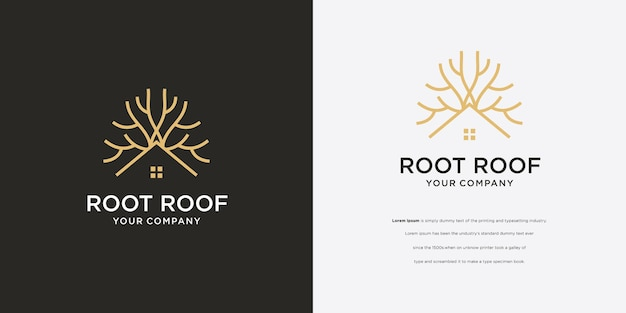 Pine tree root boomhut logo vector icon