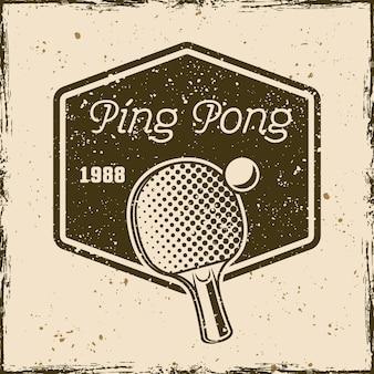 Ping pong of tafeltennis vintage embleem, label, badge of logo. vectorillustratie op achtergrond met verwijderbare grunge-texturen