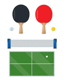 Pingpong- of tafeltennisuitrusting voor het spelen van sportgames