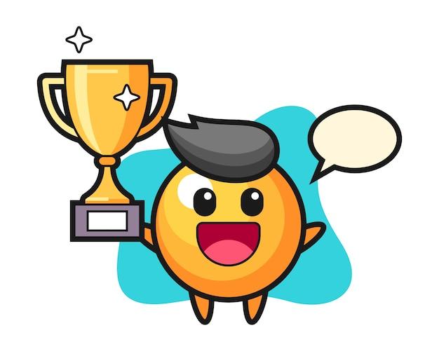 Pingpongbal cartoon gelukkig houden van de gouden trofee