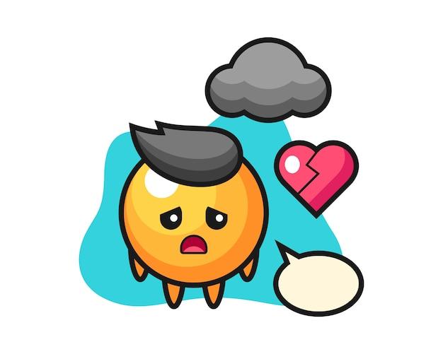 Pingpongbal cartoon is gebroken hart