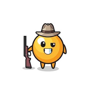 Pingpongjager-mascotte met een pistool, schattig ontwerp
