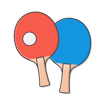 Pingpongpeddels met bal op wit wordt geïsoleerd dat