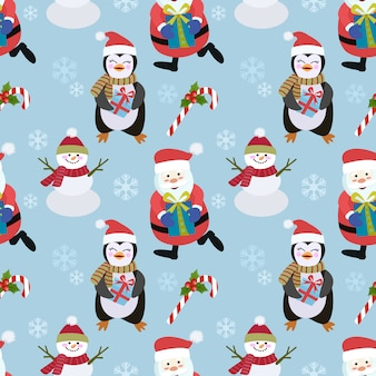 Pinguïn en sneeuwman santa naadloze patroon.
