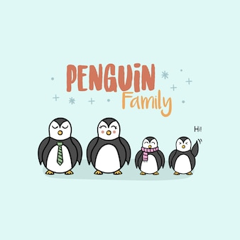 Pinguïn familie achtergrond