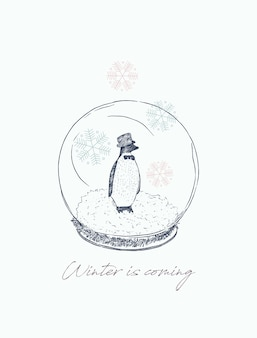 Pinguin in bal, winter concept.