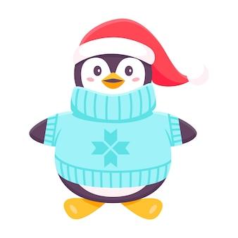 Pinguïn in een trui. kerstmis en nieuwjaar concept. leuke grappige pinguïn. gekleurde trendy illustraties. plat ontwerp. geïsoleerd op een witte achtergrond. stickers vector illustratie