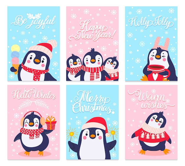 Pinguïn kaarten. merry christmas wenskaart met arctische dieren in winterkleding en hoeden, schattige pinguïns ontwerp vakantie vector set. personages in trui, oorbeschermers en sjaals bevatten ijs, cacao