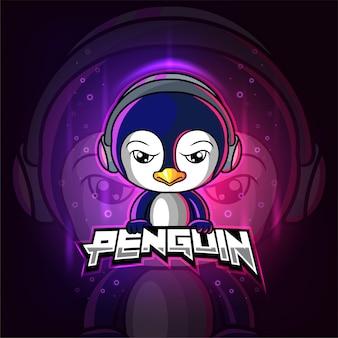 Pinguïn mascotte esport kleurrijk logo