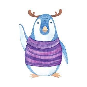 Pinguïn met paarse jas vieren kerstmis