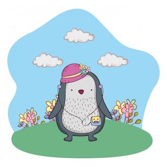 Pinguïn met vrouwelijke hoed en walkman in het kamp