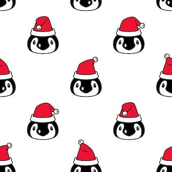 Pinguïn naadloze patroon vogel kerst kerstman cartoon