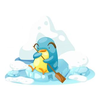 Pinguïn op een beetje ijs