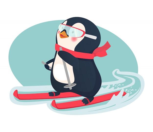 Pinguïn op ski's