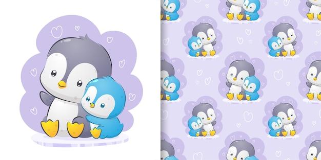 Pinguïn praten met baby pinguïn patroon ingesteld aquarel illustratie