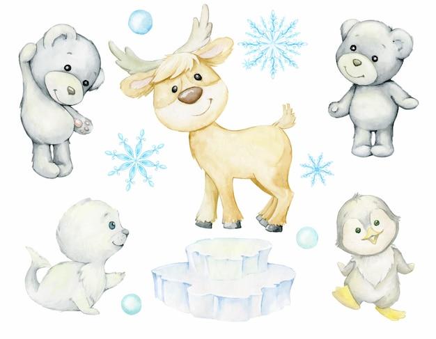 Pinguïn, rendieren, ijsbeer, zeehond, schattige dieren. aquarel set