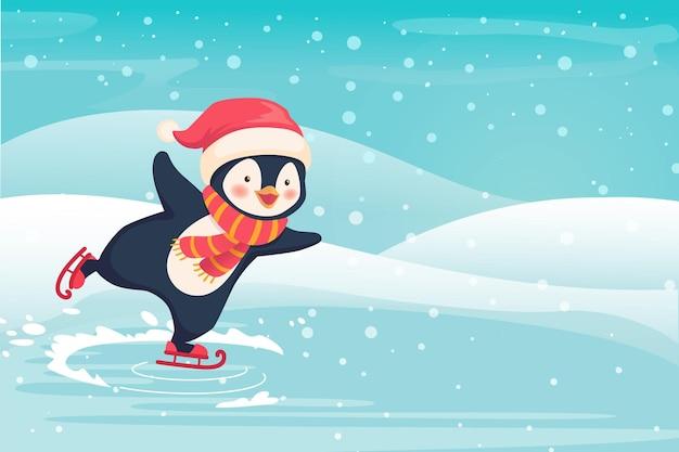 Pinguïn schaatsen buiten. sport en vrije tijd concept illustratie