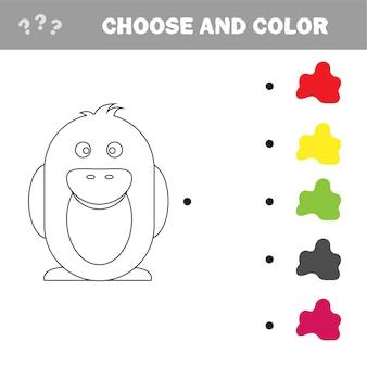 Pinguïn - schilderpagina, spel voor kinderen en kinderen - kies kleur - puzzel