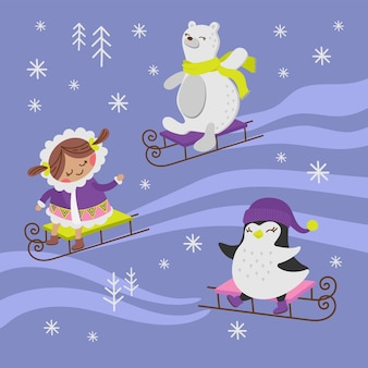 Pinguïn sled girl holiday animal flat design cartoon hand drawn illustration
