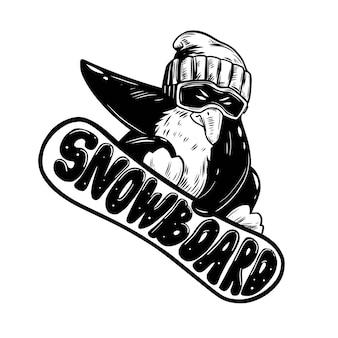 Pinguïn snowboarder. hand getekende illustratie