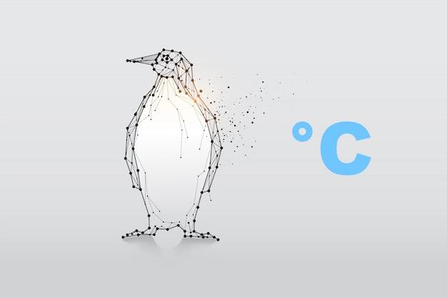 Pinguïn van deeltjes, geometrische kunst, lijn en punt.