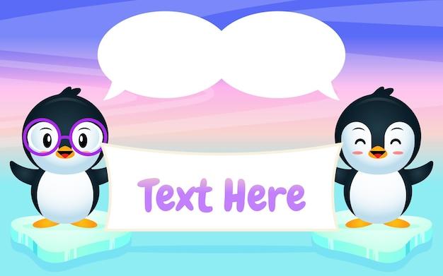 Pinguïns met ballon toespraak bedrijf
