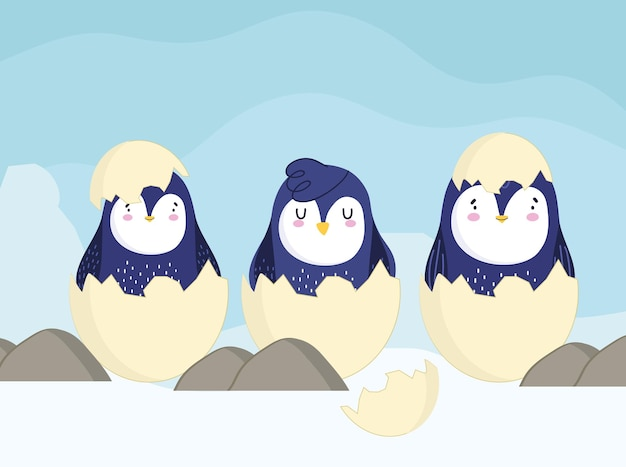 Pinguïns op eieren shell cartoon