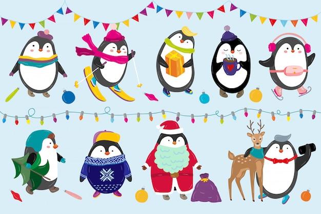 Pinguïns vieren gelukkige grappige dierlijke karakters van de kerstmisillustratie in de winter en nieuwjaarkostuum