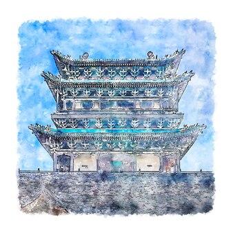 Pingyao shanxi china aquarel schets hand getekende illustratie