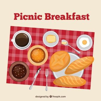 Pinic ontbijt in een bovenaanzicht