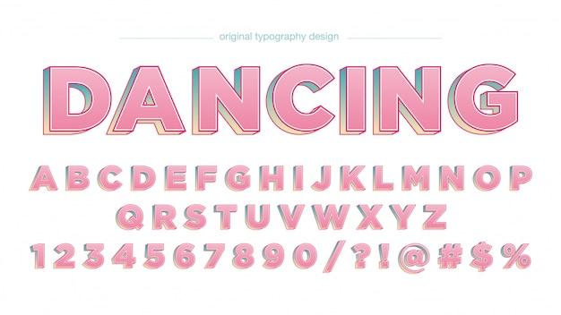 Pink bold 3d artistiek lettertype in hoofdletters