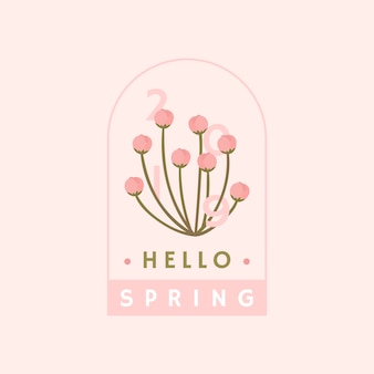 Pink cherry blossom badge vector