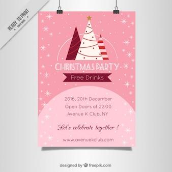 Pink christmas flyer met bomen