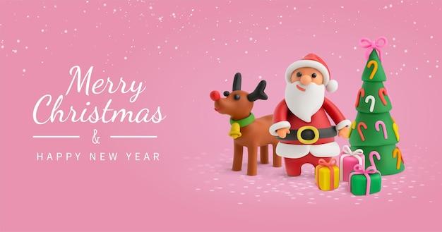 Pink christmas wenskaart met plasticine santa en kerstversieringen