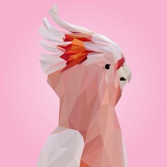 Pink cockatoo polygonal vector