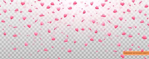 Pink heart confetti van valentines bloemblaadjes vallen op transparante achtergrond.