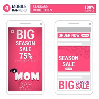 Pink mother day mobile banner