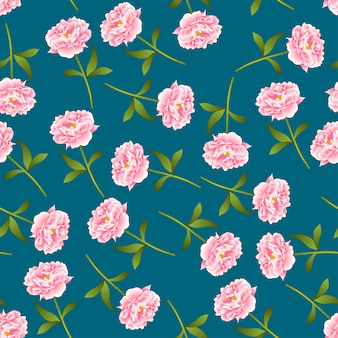 Pink peony seamless on indigo blue background