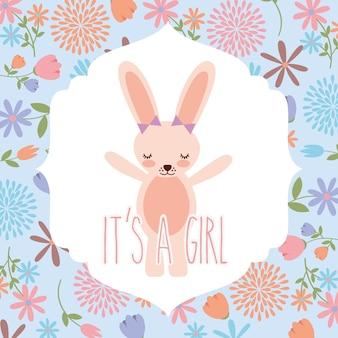 Pink rabbit wit bow baby shower is een meisje