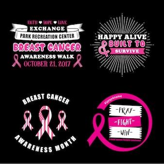 Pink ribbon zeggen en citeer set
