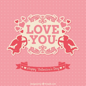 Pink valentijnsdag kaart met cupido