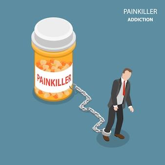 Pinkiller verslaving platte isometrische concept.