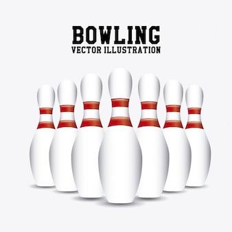 Pins bowlen over witte achtergrond vectorillustratie